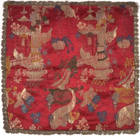 Velo da calice, Francia, 1720 circa. Lampasso decorato da cineserie.